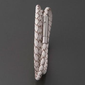 Armband Leder weiß-braun Ilaria, 19cm