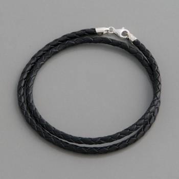 Flecht-Lederband schwarz 3 mm, Länge 60cm