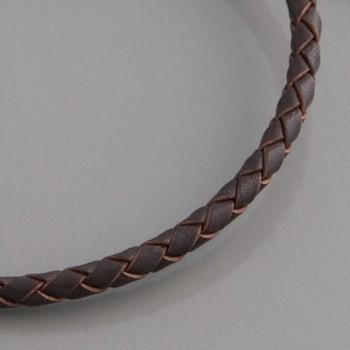 Flecht-Lederband braun 3mm, Länge 60cm
