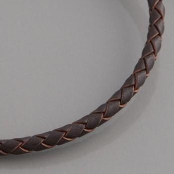 Flecht-Lederband braun 4 mm, Länge 60cm