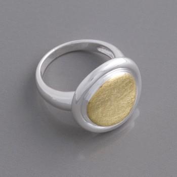 Bicolor Silberring vergoldet, Größe 58