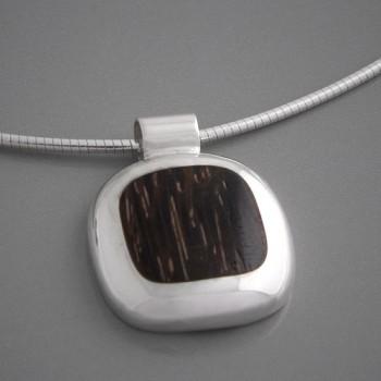 Kettenanhänger Silber Holz