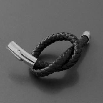 Lederarmband geflochten, schwarz, Länge 20cm