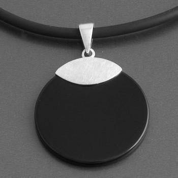 Kettenanhänger Onyx schwarz Scheibe