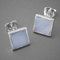Ohrstecker Silber quadratisch Perlmutt blau