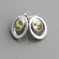 Silber-Ohrstecker Zirkonia grün