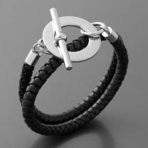 Flechtleder Armband, schwarz, rund, Edelstahl