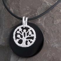 Schmuck Set Onyx Anhänger Silberanhänger Lebensbaum