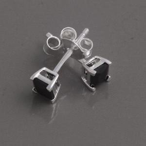 Silber Ohrstecker Zirkonia schwarz, 4mm
