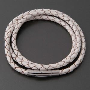 Armband Leder weiß braun Ilaria