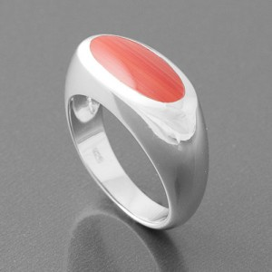 Ring Silber oval Koralle rot