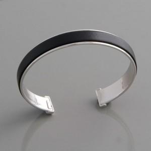 Armreif Silber und Leder