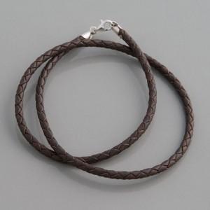 Flecht-Lederband braun 3 mm, Länge 38-90 cm
