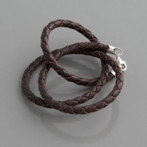Flecht-Lederband braun 4 mm, Länge 38cm bis 90cm