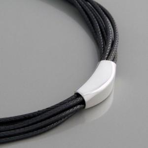 6-reihige<br>Textil-Silber-Kette
