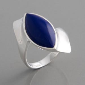 Silberring mit Lapis Ringgröße 52 bis 62