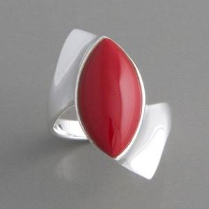 Silberring Stein rot Koralle Ringgröße 52 bis 62