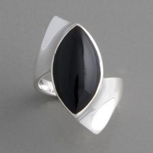 Silberring mit Onyx Ringgröße 52 bis 62