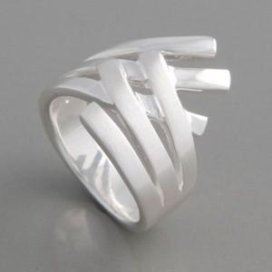 Silberring Fächer Ringgröße 52 bis 62