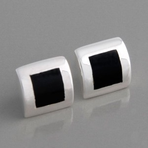 Ohrstecker Silber Quadrat Onyx