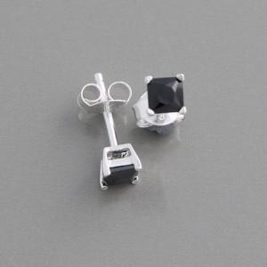 Ohrstecker Silber Zirkonia schwarz