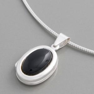 Silberanhänger Onyx Medaillon klein