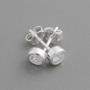 Ohrstecker Silber rund Zirkonia, 3 mm