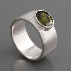 Silberring Peridot-Zirkonia Ringgröße 50 bis 54