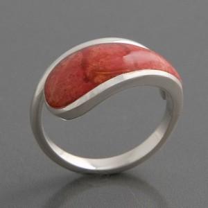 Silberring rote Koralle Ringgröße 54 bis 58