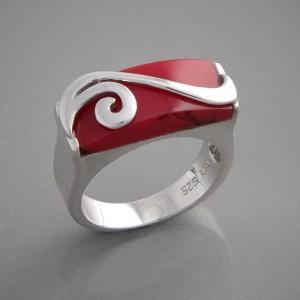 Silberring rot Mia Ringgröße 54 bis 60