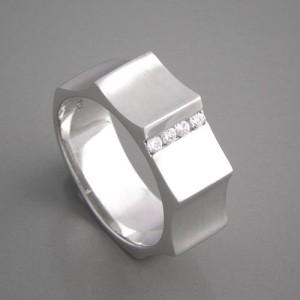 Silberring Zirkonia Vier Ringgröße 52 bis 60