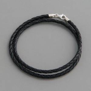 Flecht-Lederband schwarz 2mm, Länge 38cm bis 90cm