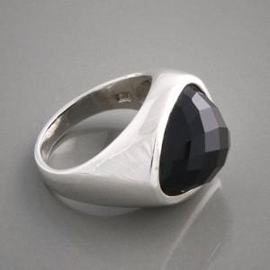 Silberring Onyx facettiert Größe 54 bis 58
