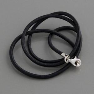 Lederkette schwarz 3mm, Länge 38cm
