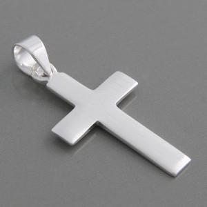 Kreuzanhänger Silber matt Benedict