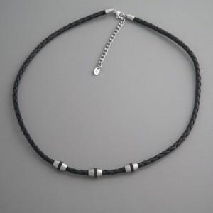 Kette Leder, schwarz Edelstahl FL Paris, Länge 45cm und 50cm