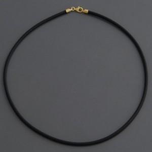 Kautschukband matt 3 mm, Verschluss Gold, Länge 40cm bis 90cm