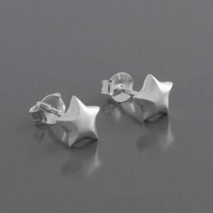 Ohrstecker Stern 925 Silber matt