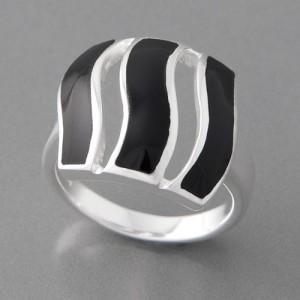 Silberring Onyx schwarz Amidala, Größe 52 bis 62