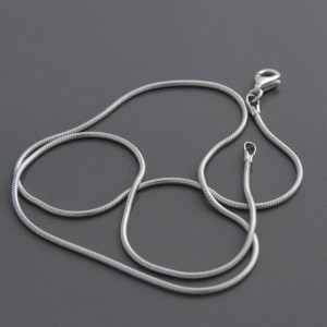 Schlangenkette Silber, rhodiniert, 1,2mm, Länge 40cm bis 60cm