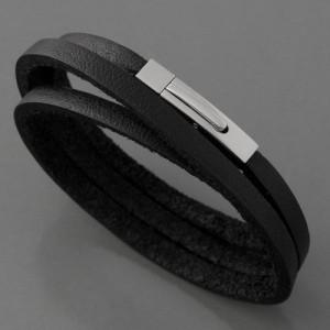 Lederarmband, 3-reihig, schwarz, 4 mm, Längen 18cm, 20cm und 21cm