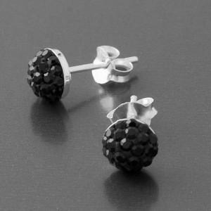 Ohrstecker rund Kristalle schwarz
