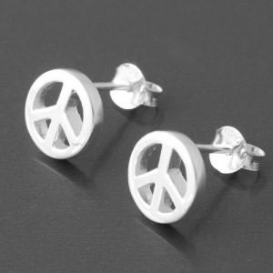 Ohrstecker Peace Silber glänzend