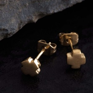 Ohrstecker Kreuz Edelstahl goldfarbig Hardwear