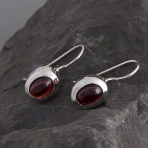 Ohrhänger Silber Granat rot