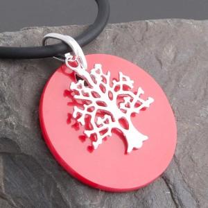 Kettenanhänger Silber Baum Set Scheibenanhänger rot