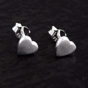 Ohrstecker Silber Herz matt