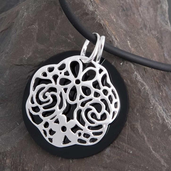 Kettenanhänger Set Onyx Silber Blume