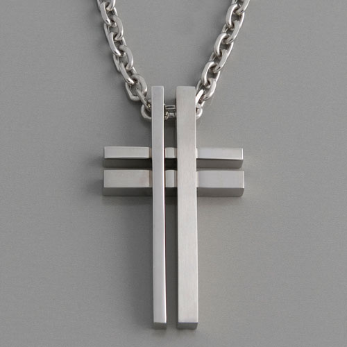 Kreuzanhänger  Moderner Kreuz Anhänger Edelstahl   HARDWEAR   edelwert