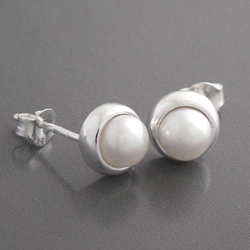 perlen ohrstecker silber